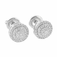 Mens Iced Out 3 Layer Round Micro Pave Screw Back Stud Earring