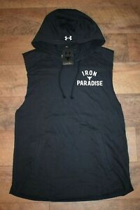 """Under Armour Men's Project Rock """"Iron Paradise"""" Terry Hoodie Size XXL Black NWT"""