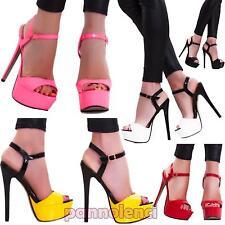 Scarpe donna sandali decolletè decoltè lucide vernice cinturino nuove RD-21104