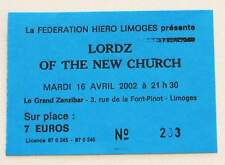 LORDS OF THE NEW CHURCH : rare billet ticket concert FRANCE Limoges 16/04/2002