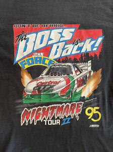 VTG 1995 John Force The Boss Is Back Nightmare Tour II Double Sided Men's Large