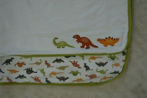 Gymboree Green Dinosaur Baby Blanket White Orange Dino Print 2008