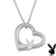 925 Sterling Silver Playboy Necklace Heart Pendant Bunny w Chain Box Crystal
