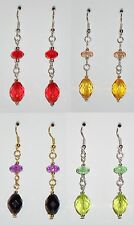Four Pairs Of Acrylic Bead Dangle Earrings - Red Black Green Topaz - NEW