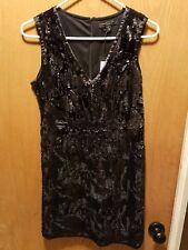 Romeo And Juliet Couture Black Sequin Dress V-neck Velvet/Velour Small S Prom