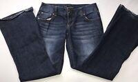 Maurices Womens Jeans Slim Boot Stretch Dark Blue Denim Junior Size 1/2 Short