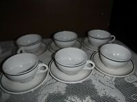 Six Vintage Buffalo China Restaurant-ware Green Stripe Coffee Cups & Saucers