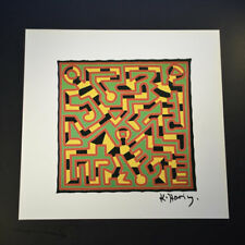 "Keith Haring, ""No title"" (red, green, yellow and black colors). Hand Signed, COA"