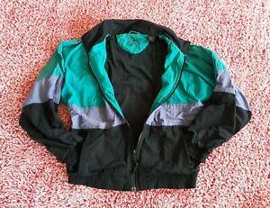 Eddie Bauer Vintage Jacket Men M Black Teal Purple Windbreaker Full Zip Mesh
