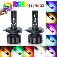 H4 9003 Colorful RGB LED Headlight Kit Bulb 120W APP Bluetooth Control Lamp Pair