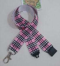Pink Plaid Tartan pattern ribbon lanyard safety clip ID badge holder student