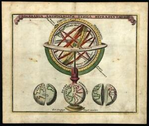 Armillary Sphere Globe celestial 1720 Weigel charming engraved miniature print