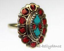 Tibet Ring mit Koralle und Türkis, Tribal Ring, Asiatischer Schmuck, 18 mm