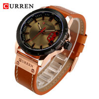 CURREN Men's Calendar Dial Wrist Watch Leather Band Analog Quartz Wristwatch