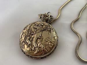 Vintage Remington Quartzarama Corona Pocket Watch One Jewel Hong Kong Hunter