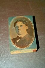 """Antique 2x3"""" Etched Copper on Wood Printing Block w/ Portrait of Gentleman"""