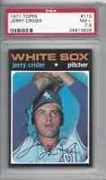 1971 Topps baseball card #113 Jerry Crider, Chicago White Sox graded PSA 7.5 NM+