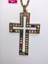 Betsey Johnson Necklace Large  Gold Cross Multi Color Crystals Gift Box Bag LK