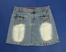 new sensation mini gonna jeans usato donna blu denim tg 42 w28 azzurro T657