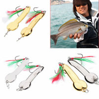 1PC Spoon Fishing Lure 5g-20g with Feather Hooks Gold/Silver Metal Bait Tackle c