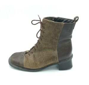 Naot Womens Canvas Leather Combat Wedge Boots Lace Up Brown Size 37