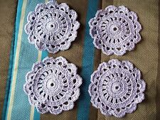 HM crocheted coasters/doilies  set/4  cotton thread with shiny strand/violet