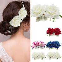 Bridal Double Rose Flower Hair Comb Clip Hairpin Wedding Party Hair Accessory