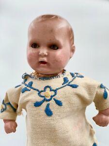 "Antique German Bisque Baby Doll 8"" Marked"