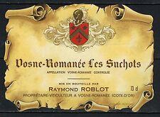 Etiquette Vin de Bourgogne-Vosne Romanée-Les Suchots-Propriétaire Roblot-Réf.143