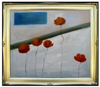 Framed, Brown Poppies, Quality Hand Painted Oil Painting 20x24in