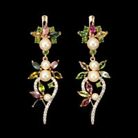 Unheated Marquise Tourmaline Chrome Diopside Cz 925 Sterling Silver Earrings
