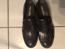 New $780.00 Men's Prada Kiltie Leather Penny Loafers with Fringe