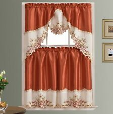 ARCH FLORAL Kitchen Curtain Set  floral embroidery on border with cutworks-RUST