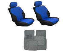 Blue & Black Seat Covers W/ Charcoal Carpet floor Mats for Cars SUVS-8 PC. Combo