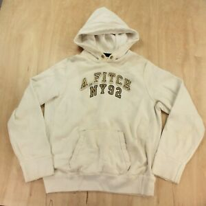 Distressed Abercrombie & Fitch hoodie sweatshirt XL off white creme vtg