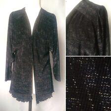 Vintage 1970s 80s Black Silver Sparkly Lurex Cardigan Jacket Disco Glam Size S/M
