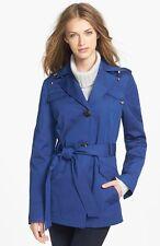 NEW Ellen Tracy Safari Blue Trench Coat Jacket with Detachable Hood XSmall