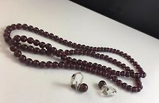 Red Garnet Strand Necklace & Sterling Silver Clip On Earrings Set