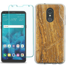 TPU Phone Case for LG Stylo 5 w/ Tempered Glass - Marble / Earth
