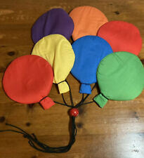 Vintage 80s Rainbow Colored Balloon Quilted Wall Art Hanging