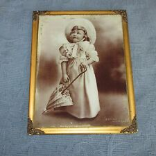 Antique Victorian Gold Picture Frame,Photo on Glass of Little Girl Will it Rain?