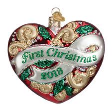 """2018 First Christmas Heart"" (30053)X Old World Christmas Glass Ornament"