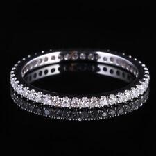 1.6mm Wide Diamonds Wedding Full Eternal Band Solid 14K White Gold Ring #5.5