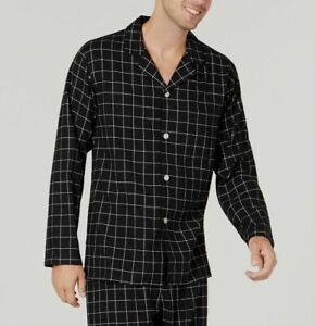 $65 Club Room Mens Black Check Pajama Flannel Shirt Warm Crew-Neck Sleepwear S