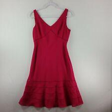 Ann Taylor Womens Linen Dress 8P Hot Pink Lined Side Zipper