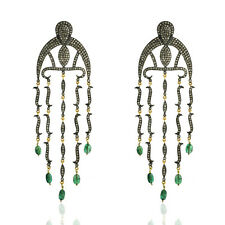 Pave Diamond Emerald Chandelier Earrings 18k Gold Silver Fashion Jewelry