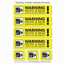 7 x Dash Cam Recording Stickers CCTV In Car Camera - Window Sticker - UV3098