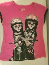 """Justice Share a Smile """"PAWSOME"""" Motorcycle Cats Sequins Rivets Glitter Tee Sz 6"""
