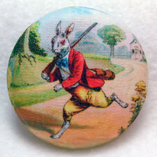 Rabbit Gone aHunting! Fabric Covered Button  1 & 1/2 inch FREE US SHIPPING