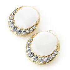 Gold Colour White Enamel Crystal Diamante Round Stud Earrings